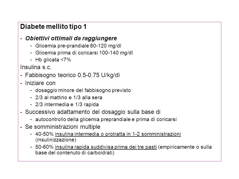 Diabete mellito tipo 1 Obiettivi ottimali da raggiungere Insulina s.c.