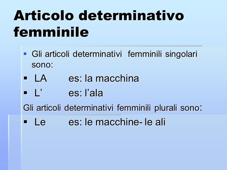 Articolo determinativo femminile