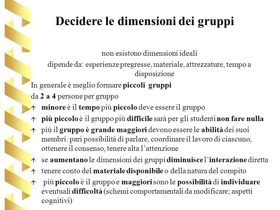 Decidere le dimensioni dei gruppi