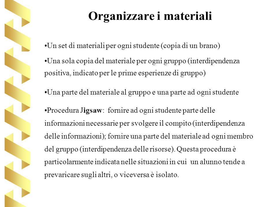 Organizzare i materiali