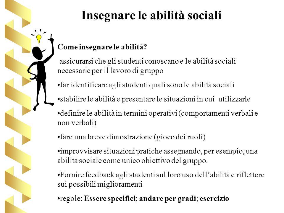 Insegnare le abilità sociali