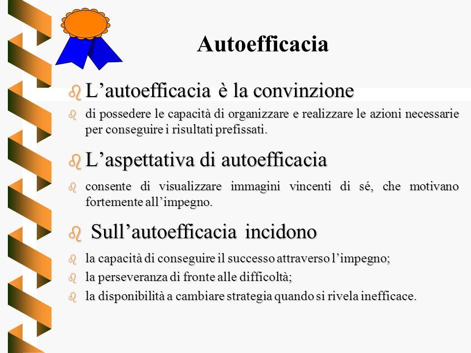 Autoefficacia L'autoefficacia è la convinzione