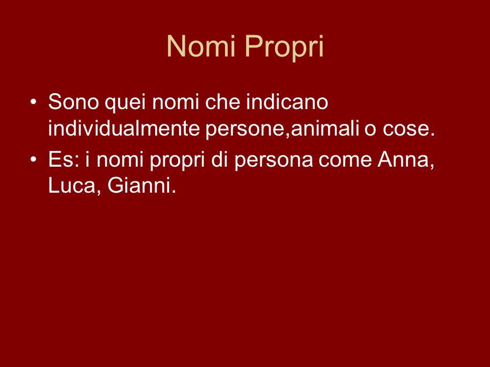 Nomi Propri Sono quei nomi che indicano individualmente persone,animali o cose.