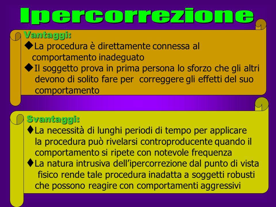 Ipercorrezione Vantaggi: La procedura è direttamente connessa al. comportamento inadeguato.