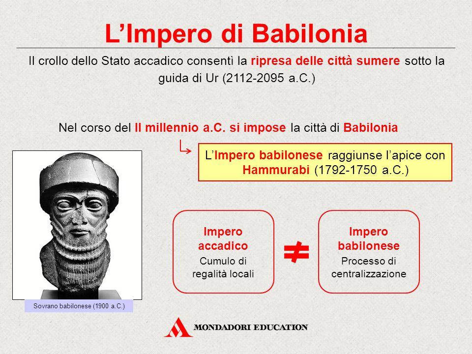 L'Impero di Babilonia Il crollo dello Stato accadico consentì la ripresa delle città sumere sotto la guida di Ur (2112-2095 a.C.)