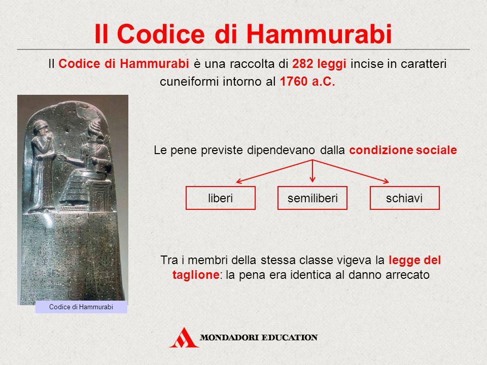 Il Codice di Hammurabi Il Codice di Hammurabi è una raccolta di 282 leggi incise in caratteri cuneiformi intorno al 1760 a.C.