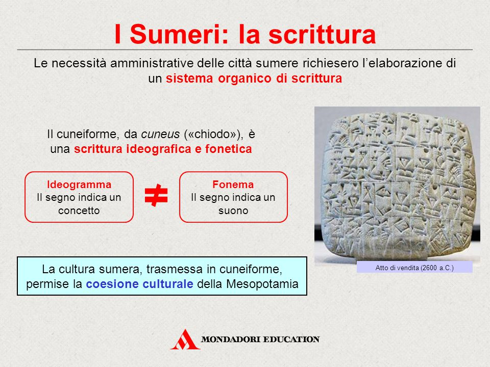 I Sumeri: la scrittura Le necessità amministrative delle città sumere richiesero l'elaborazione di un sistema organico di scrittura.