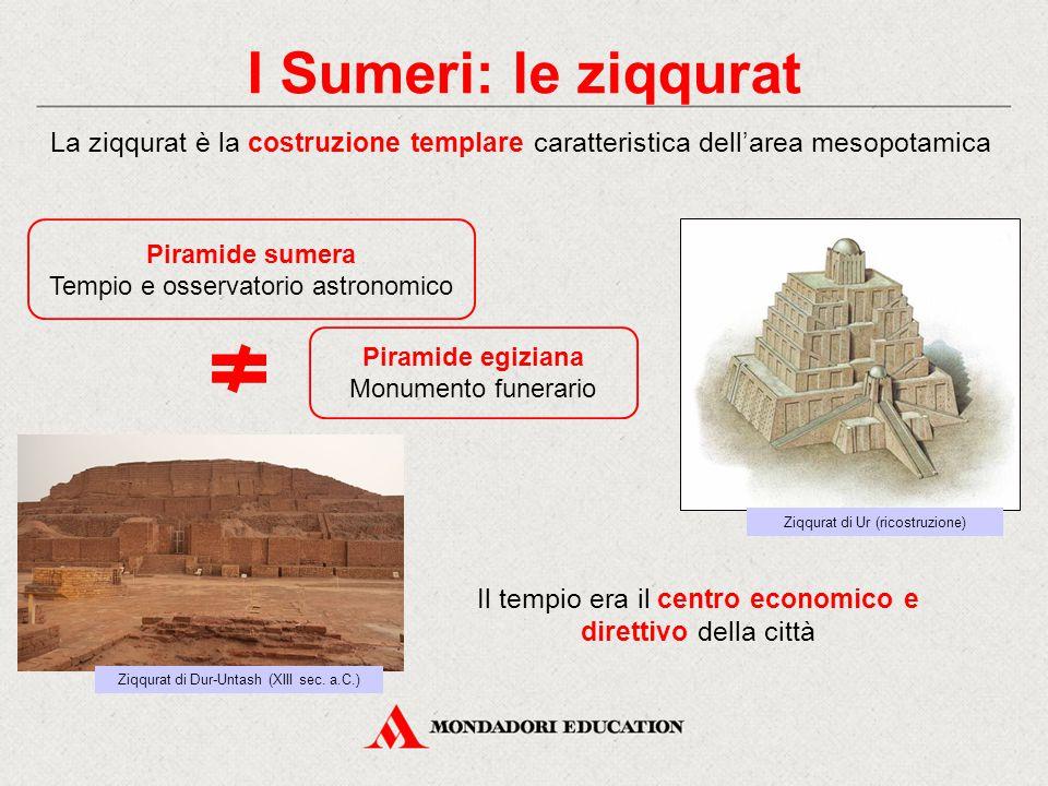 I Sumeri: le ziqqurat La ziqqurat è la costruzione templare caratteristica dell'area mesopotamica. Piramide sumera.