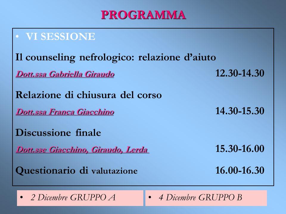 PROGRAMMA VI SESSIONE Il counseling nefrologico: relazione d'aiuto