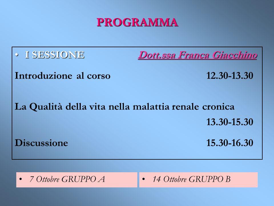 PROGRAMMA I SESSIONE Dott.ssa Franca Giacchino