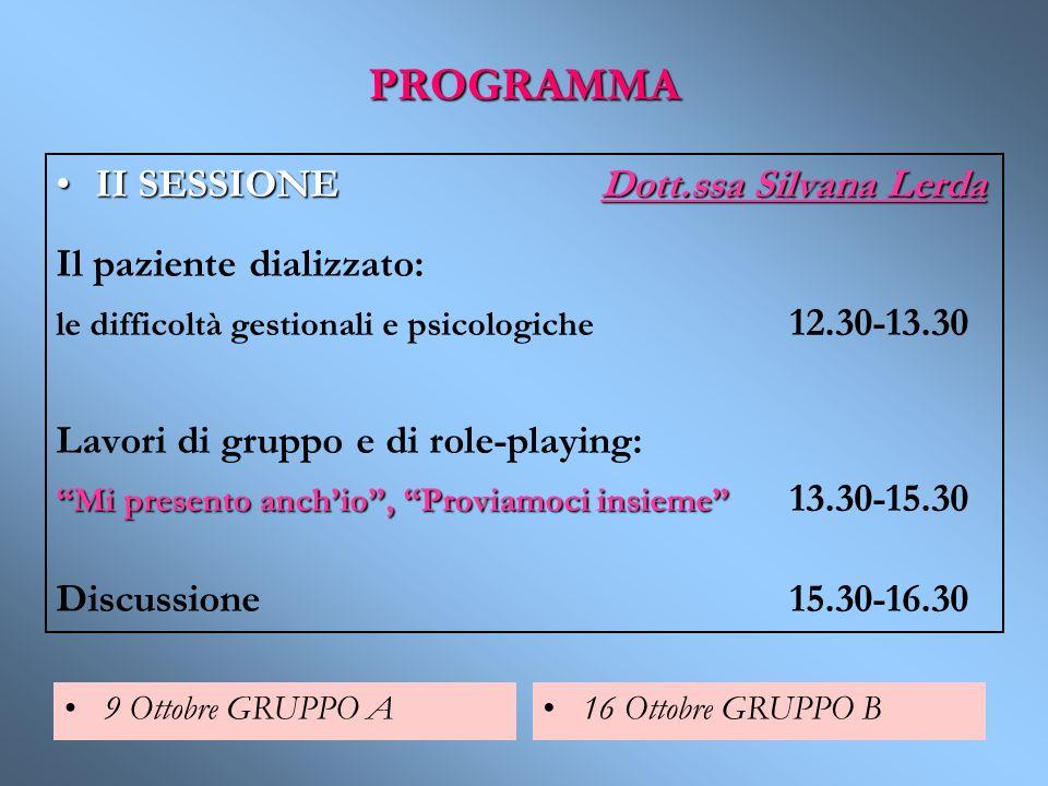 PROGRAMMA II SESSIONE Dott.ssa Silvana Lerda Il paziente dializzato:
