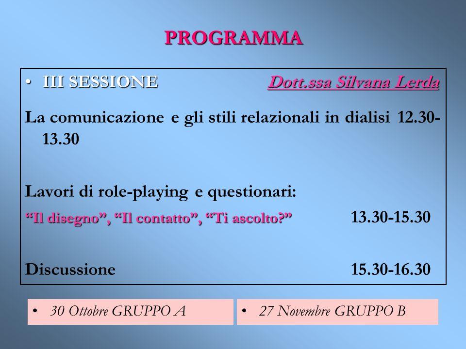 PROGRAMMA III SESSIONE Dott.ssa Silvana Lerda