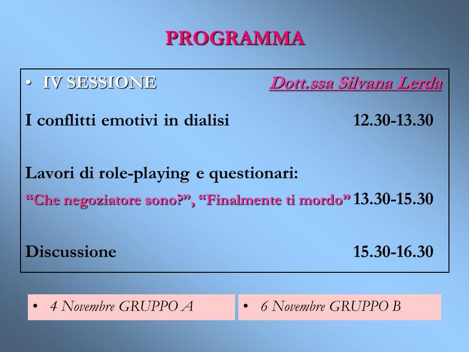 PROGRAMMA IV SESSIONE Dott.ssa Silvana Lerda