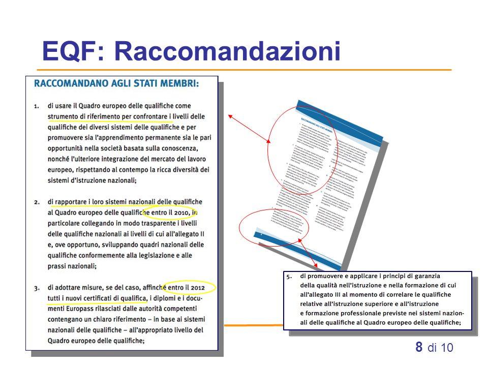 EQF: Raccomandazioni
