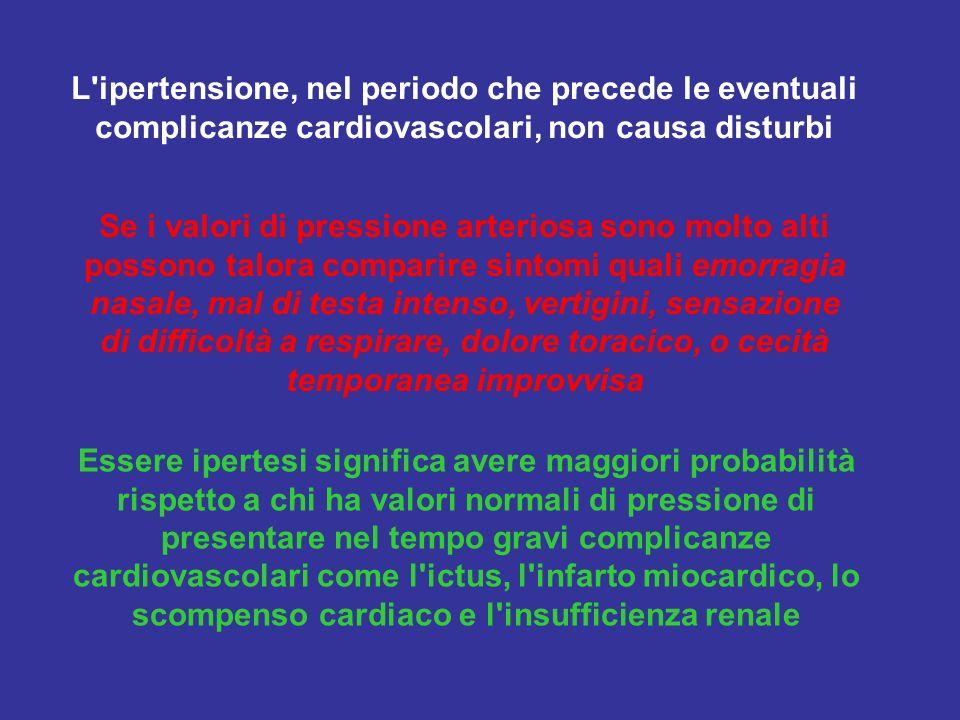 L ipertensione, nel periodo che precede le eventuali complicanze cardiovascolari, non causa disturbi