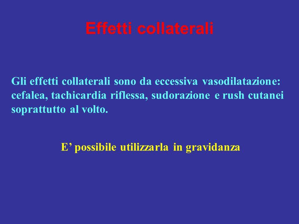 Effetti collateraliGli effetti collaterali sono da eccessiva vasodilatazione: