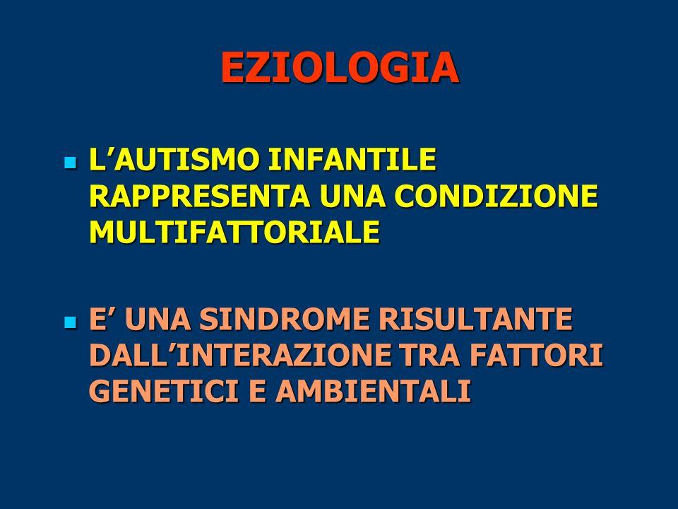 EZIOLOGIA L'AUTISMO INFANTILE RAPPRESENTA UNA CONDIZIONE MULTIFATTORIALE.