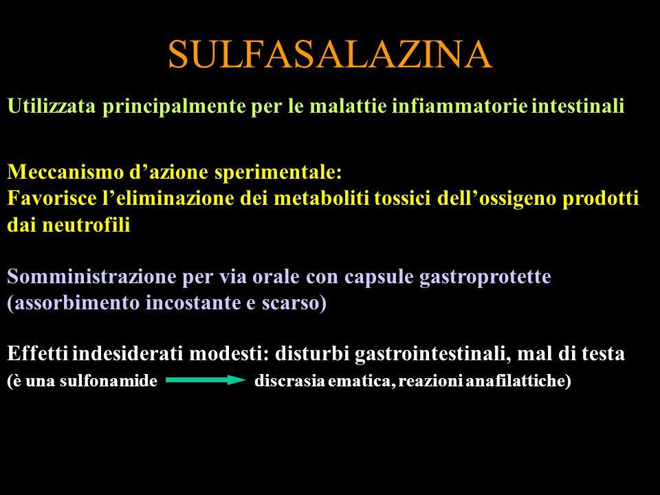 SULFASALAZINA Utilizzata principalmente per le malattie infiammatorie intestinali. Meccanismo d'azione sperimentale: