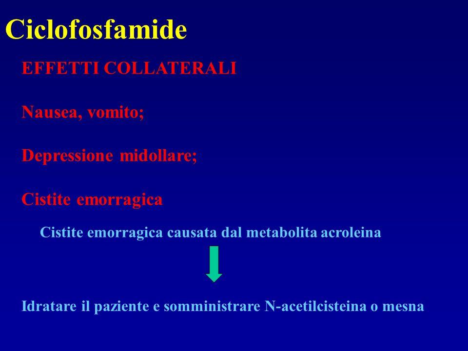 Ciclofosfamide EFFETTI COLLATERALI Nausea, vomito;
