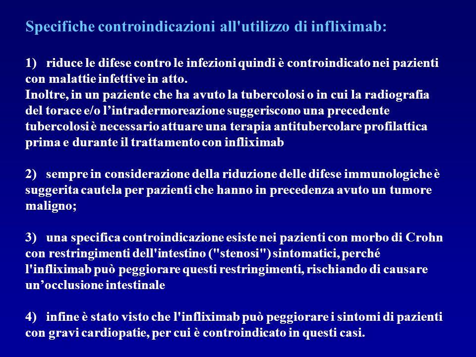 Specifiche controindicazioni all utilizzo di infliximab: