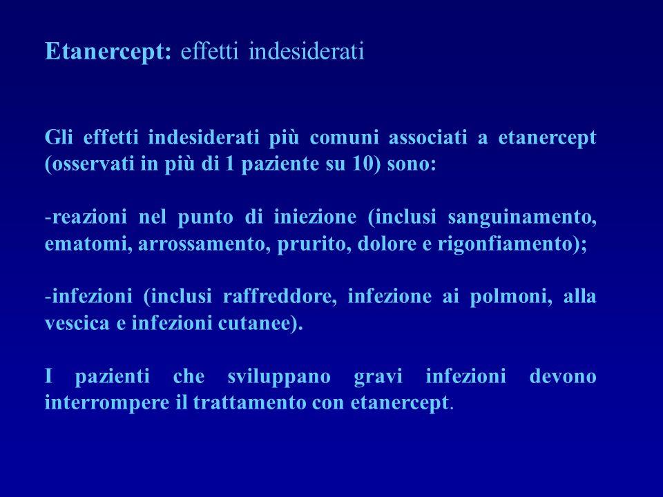 Etanercept: effetti indesiderati