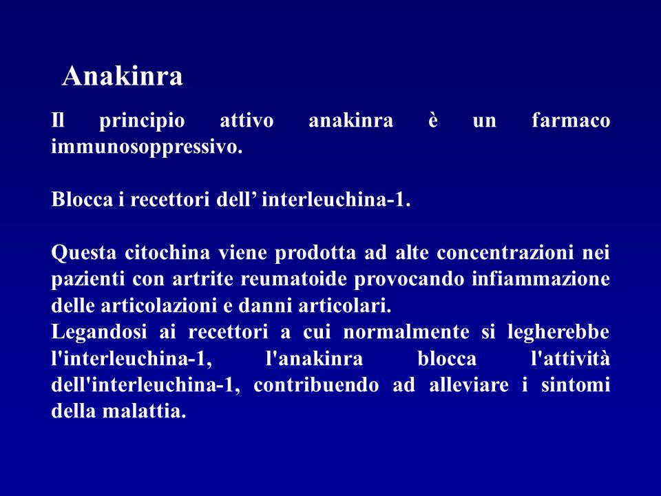 Anakinra Il principio attivo anakinra è un farmaco immunosoppressivo.