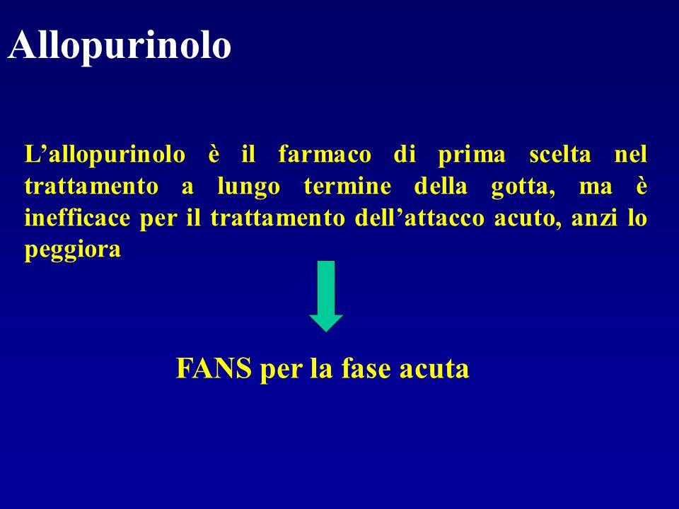 Allopurinolo FANS per la fase acuta