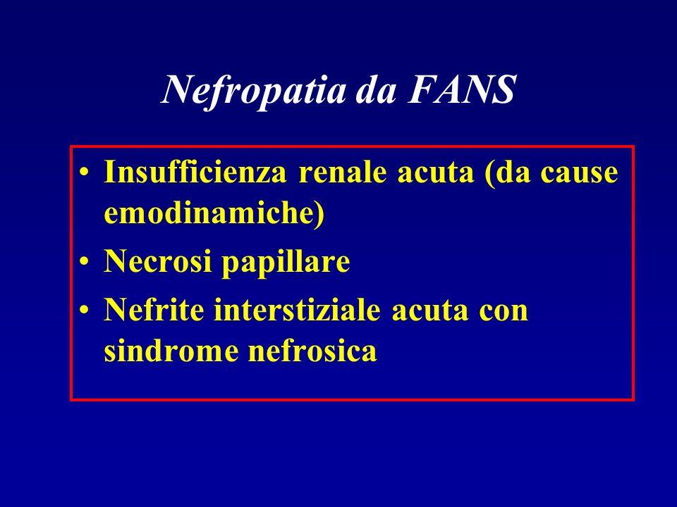 Nefropatia da FANS Insufficienza renale acuta (da cause emodinamiche)