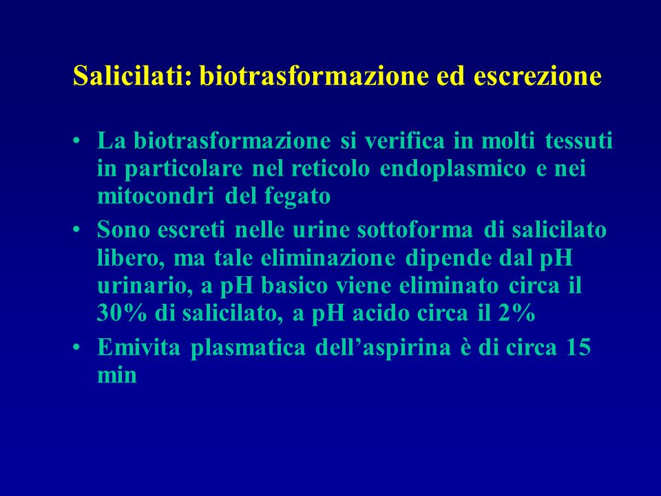 Salicilati: biotrasformazione ed escrezione
