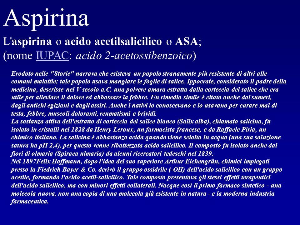 Aspirina L aspirina o acido acetilsalicilico o ASA; (nome IUPAC: acido 2-acetossibenzoico)