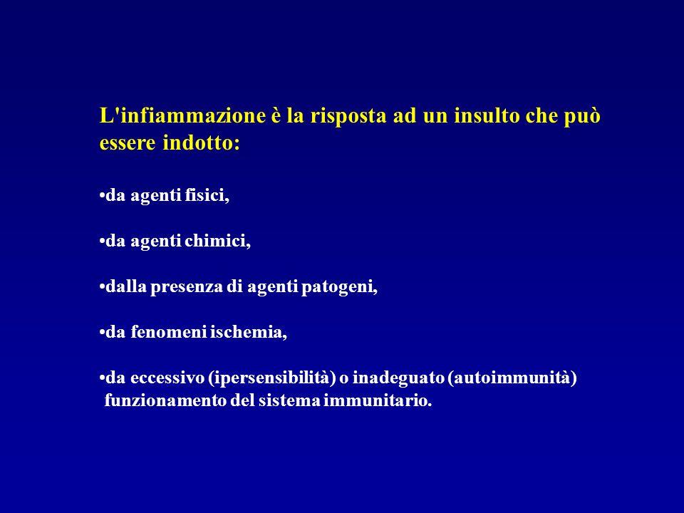 L infiammazione è la risposta ad un insulto che può essere indotto: