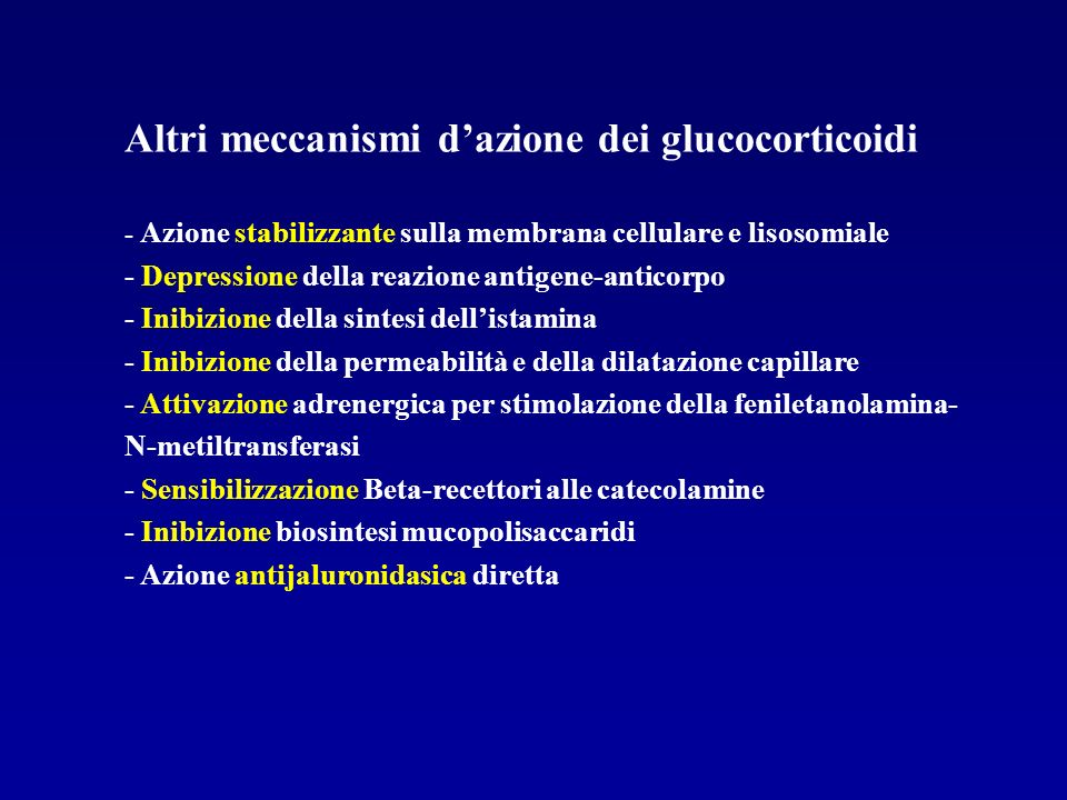 Altri meccanismi d'azione dei glucocorticoidi