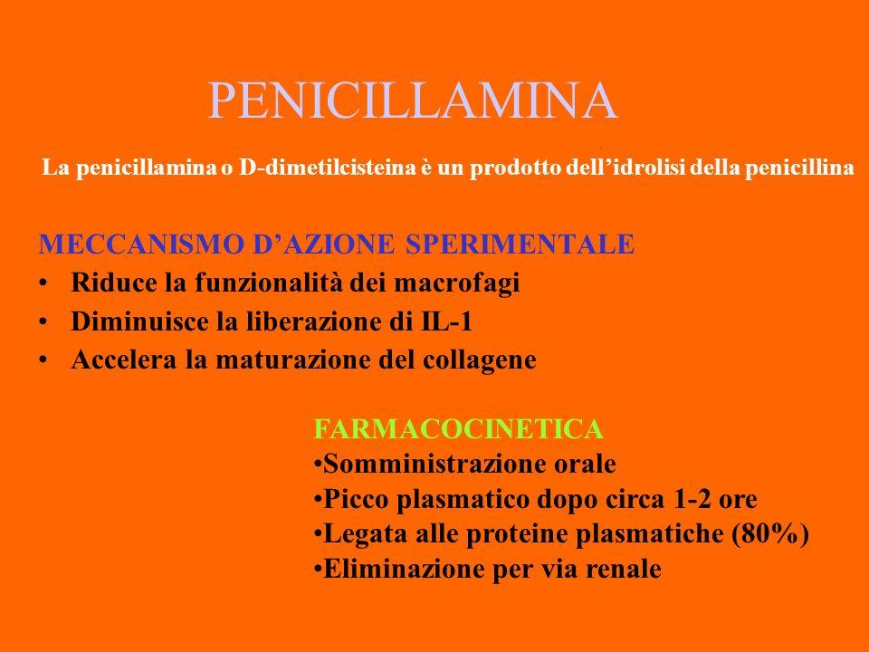 PENICILLAMINA La penicillamina o D-dimetilcisteina è un prodotto dell'idrolisi della penicillina. MECCANISMO D'AZIONE SPERIMENTALE.