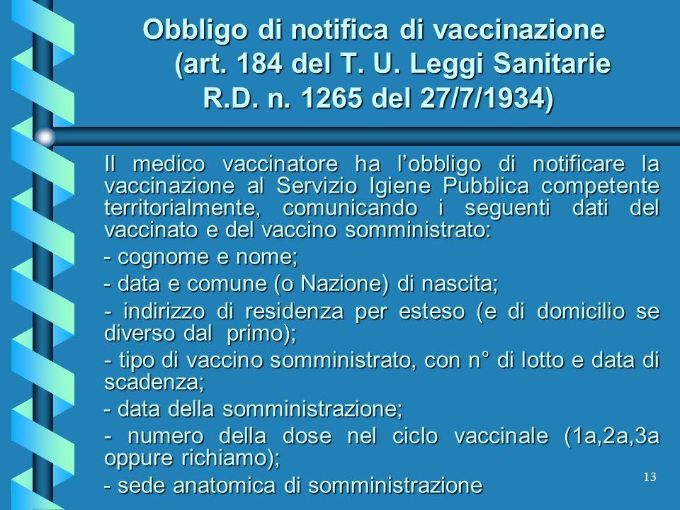 Obbligo di notifica di vaccinazione (art. 184 del T. U