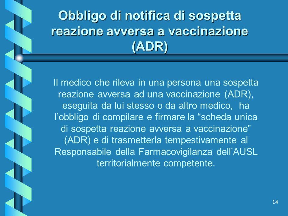 Obbligo di notifica di sospetta reazione avversa a vaccinazione (ADR)