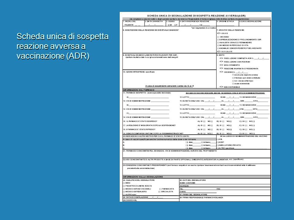 Scheda unica di sospetta reazione avversa a vaccinazione (ADR)