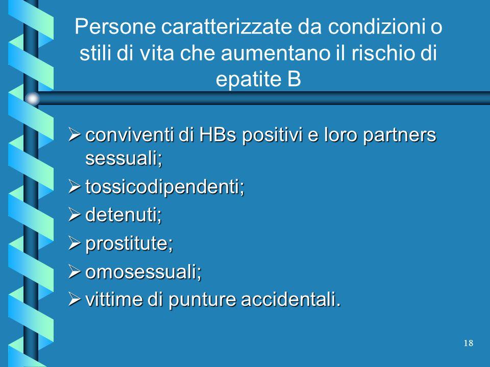 Persone caratterizzate da condizioni o stili di vita che aumentano il rischio di epatite B
