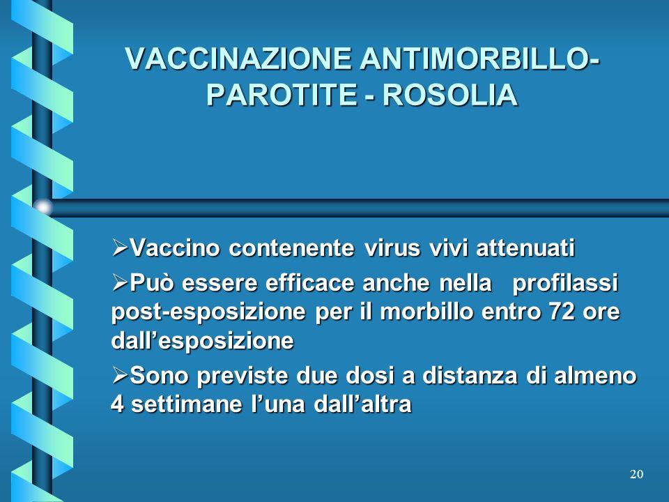 VACCINAZIONE ANTIMORBILLO- PAROTITE - ROSOLIA