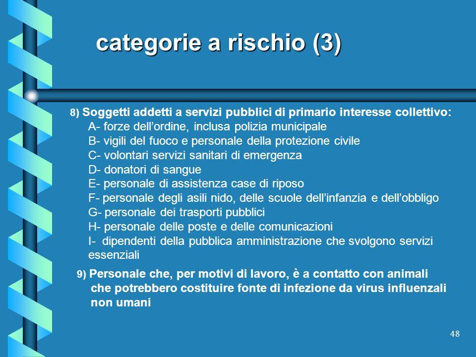 categorie a rischio (3) 8) Soggetti addetti a servizi pubblici di primario interesse collettivo: A- forze dell'ordine, inclusa polizia municipale.