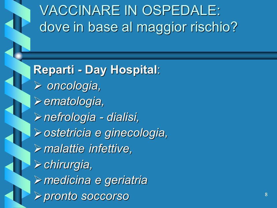 VACCINARE IN OSPEDALE: dove in base al maggior rischio