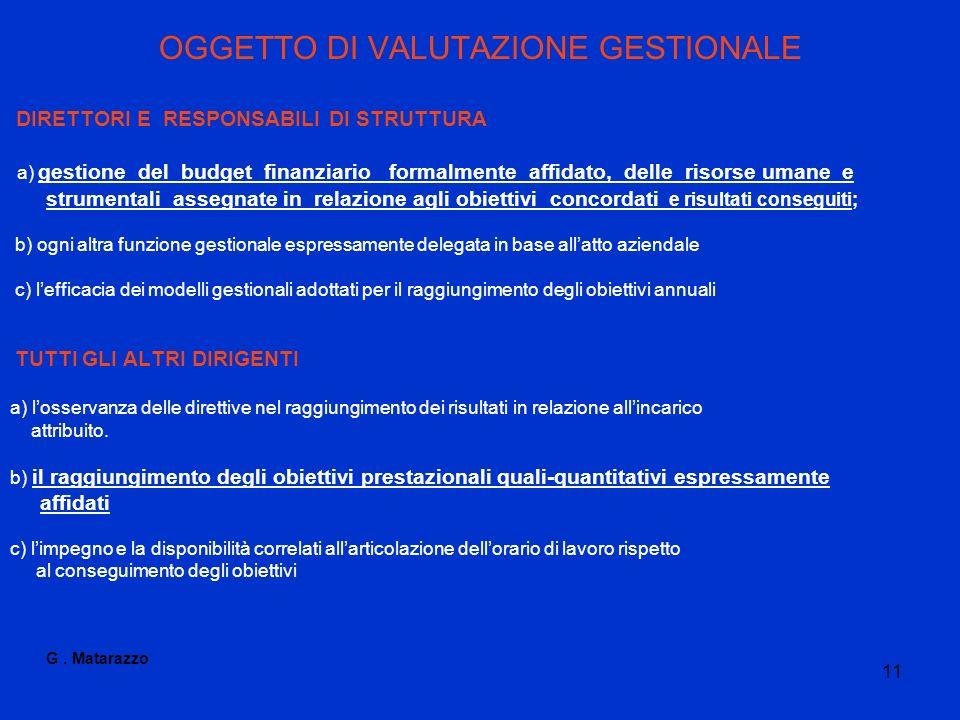 OGGETTO DI VALUTAZIONE GESTIONALE