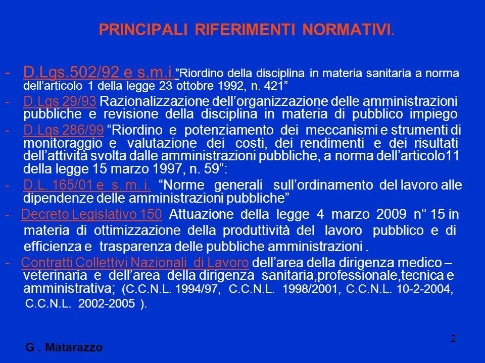 PRINCIPALI RIFERIMENTI NORMATIVI.