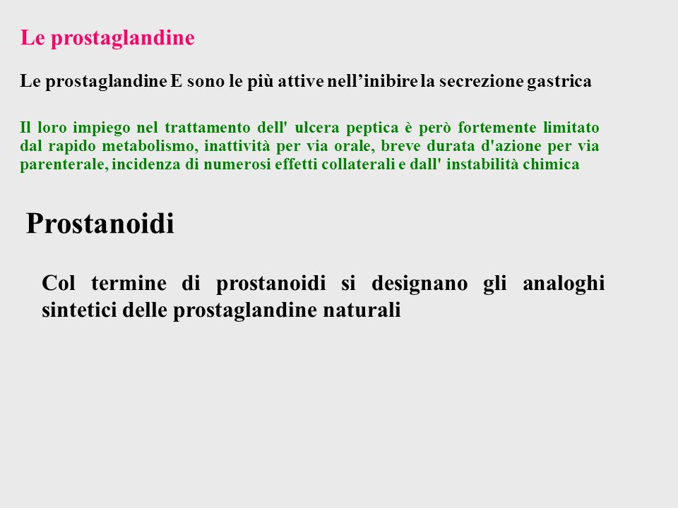 Prostanoidi Le prostaglandine