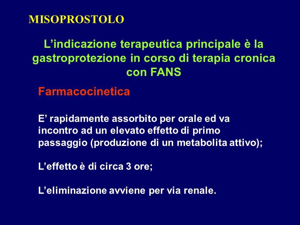 MISOPROSTOLO L'indicazione terapeutica principale è la gastroprotezione in corso di terapia cronica con FANS.