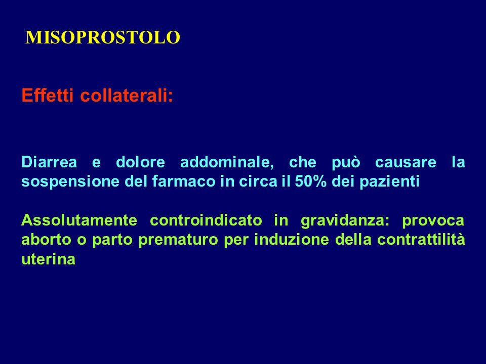 MISOPROSTOLO Effetti collaterali: