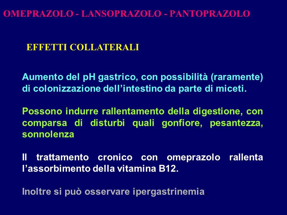 OMEPRAZOLO - LANSOPRAZOLO - PANTOPRAZOLO
