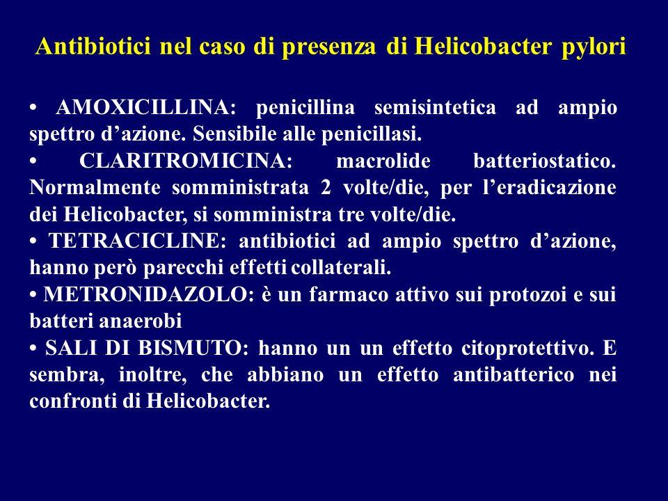 Antibiotici nel caso di presenza di Helicobacter pylori