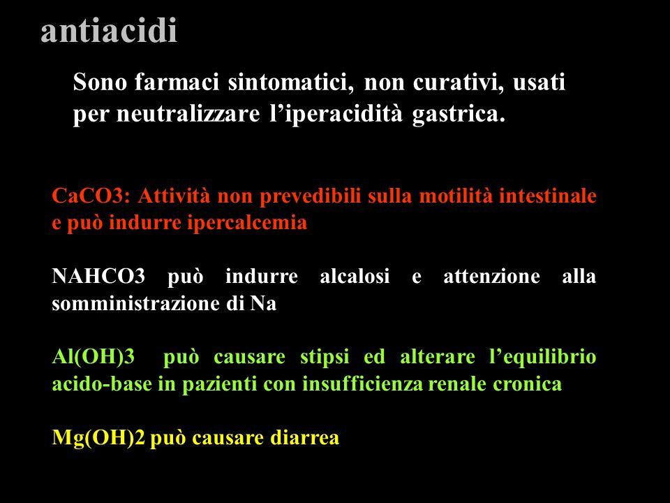 antiacidi Sono farmaci sintomatici, non curativi, usati per neutralizzare l'iperacidità gastrica.