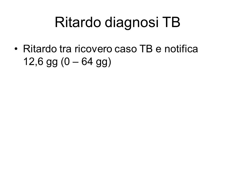 Ritardo diagnosi TB Ritardo tra ricovero caso TB e notifica 12,6 gg (0 – 64 gg)