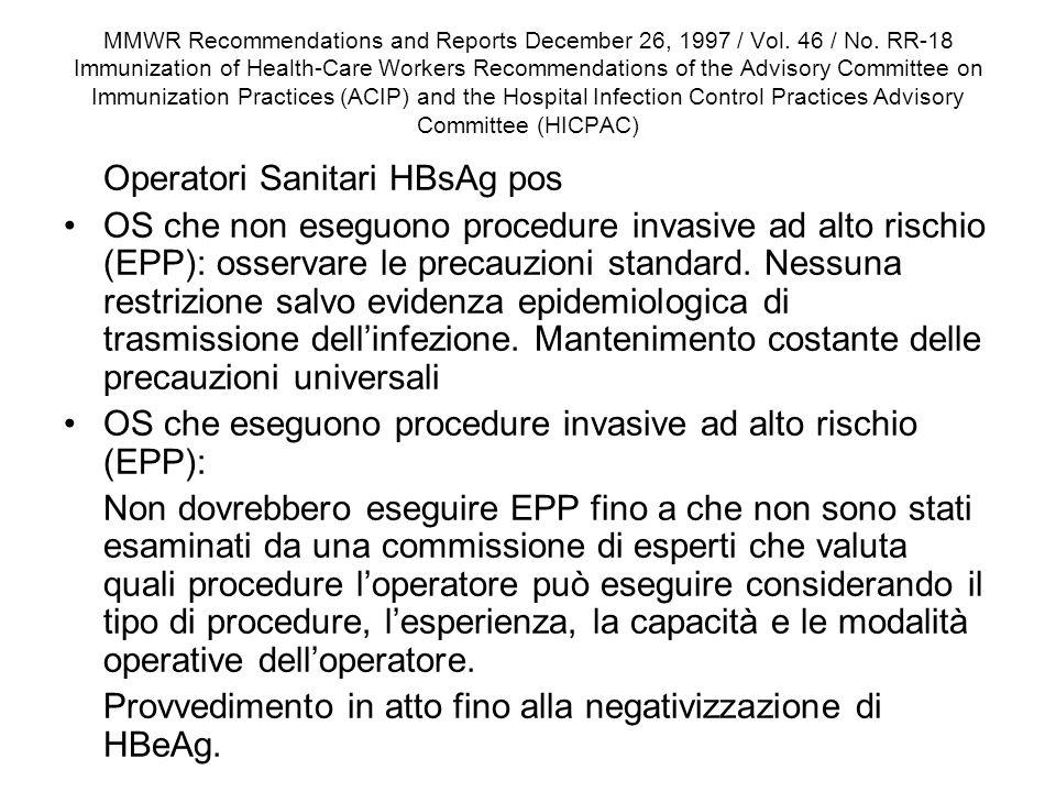 OS che eseguono procedure invasive ad alto rischio (EPP):